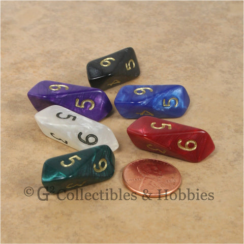D6 Crystal Pearl Dice 6pc Set - 6 Colors