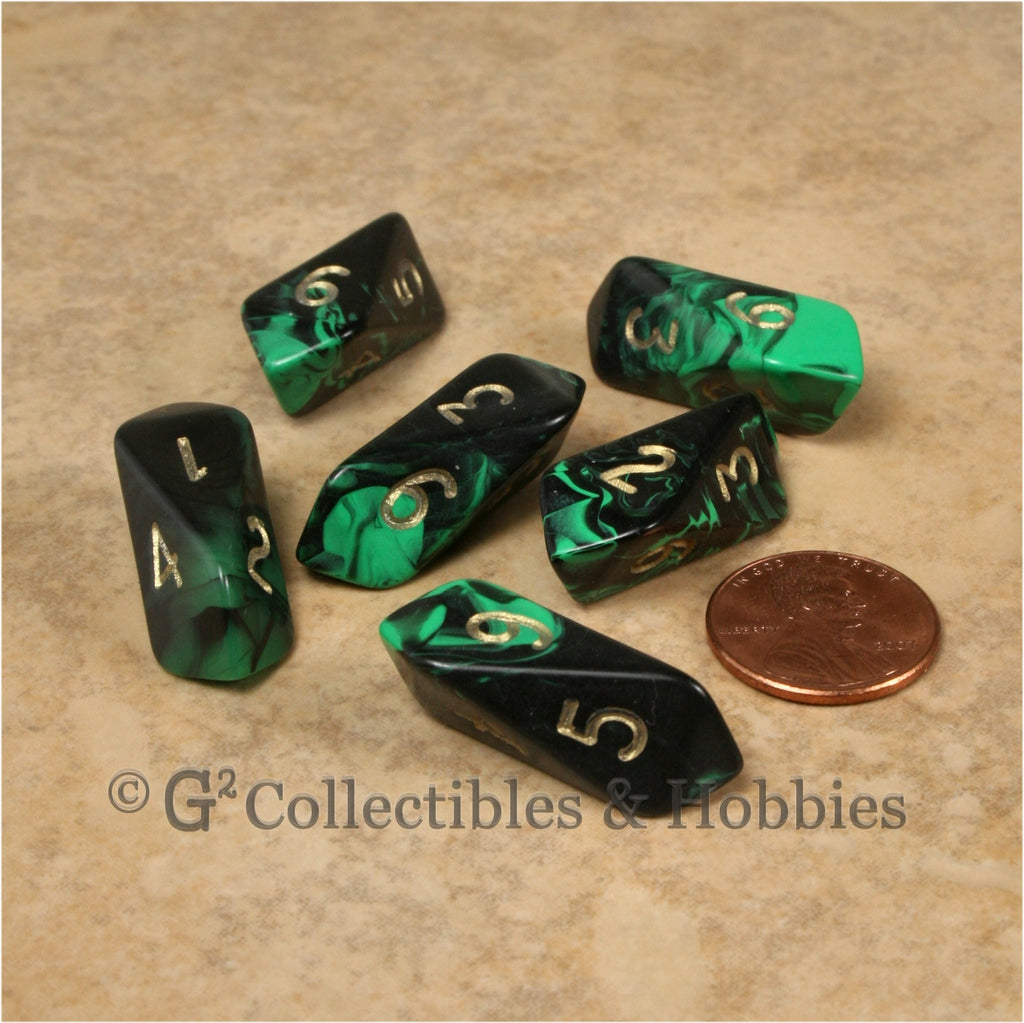 D6 Crystal Oblivion Dice 6pc Set - Green