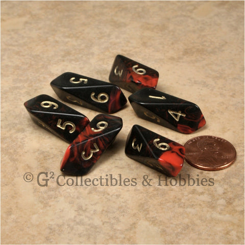 D6 Crystal Oblivion Dice 6pc Set - Red