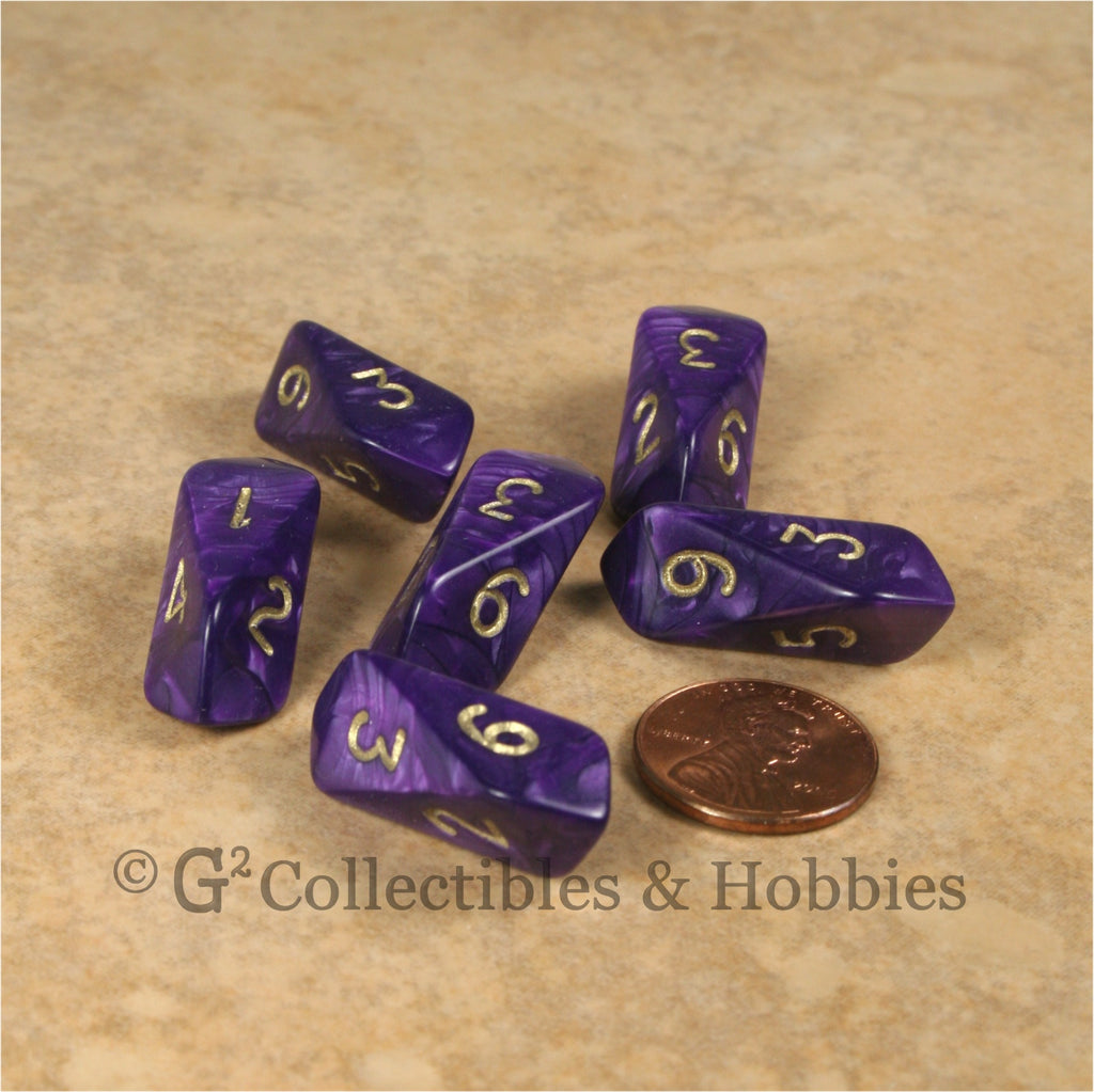 D6 Crystal Pearl Dice 6pc Set - Purple