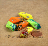 D6 Crystal Toxic Dice 6pc Set - Yellow, Green & Orange