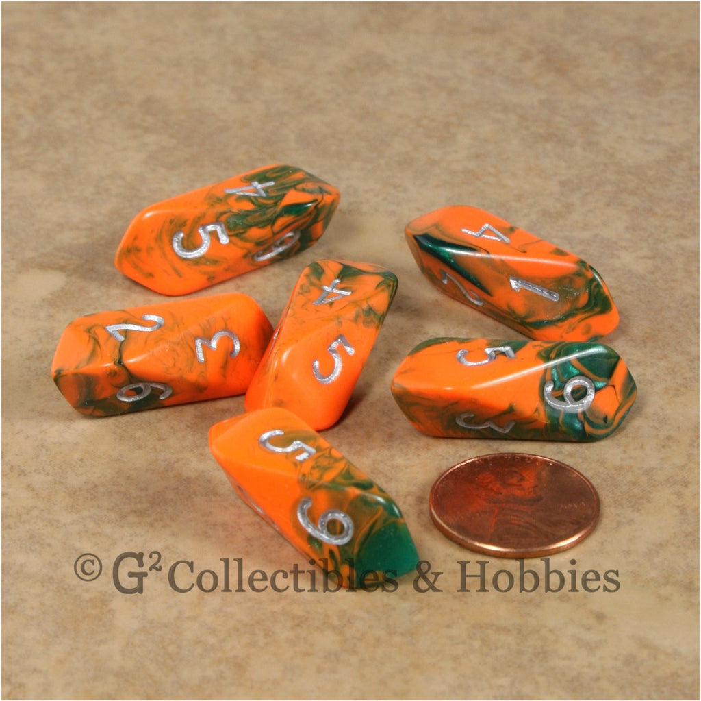 D6 Crystal Toxic Dice 6pc Set - Orange Green with Silver Numbers
