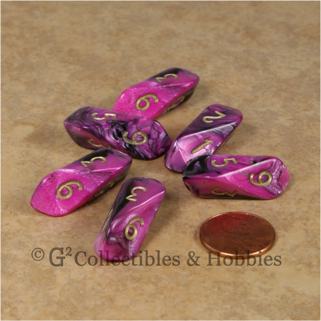 D6 Crystal Toxic Dice 6pc Set - Pink Black with Gold Numbers