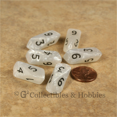 D6 Crystal Pearl Dice 6pc Set - White