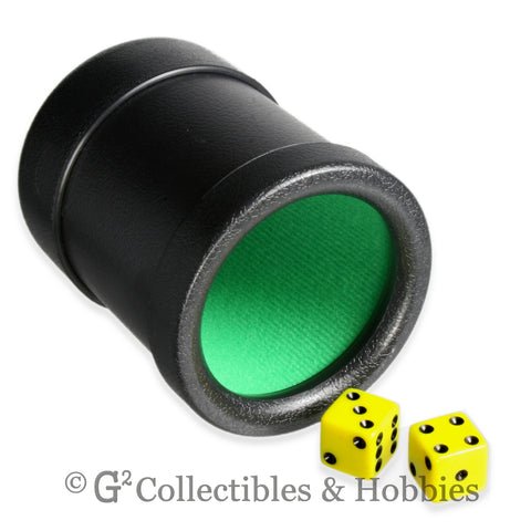 Dice Cup: Black Plastic with Green Cloth Lining