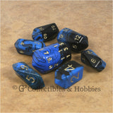 RPG Dice Set Crystal Oblivion Black / Blue with Gold 7pc