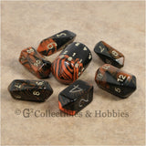 RPG Dice Set Crystal Oblivion Black / Orange with Gold 7pc