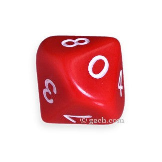 D10 Opaque Red with White Numbers