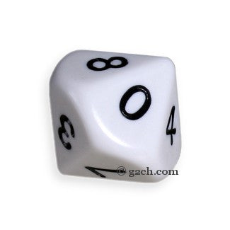 D10 Opaque White with Black Numbers