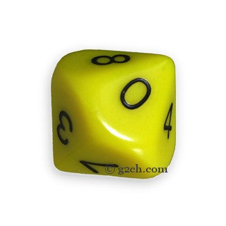 D10 Opaque Yellow with Black Numbers
