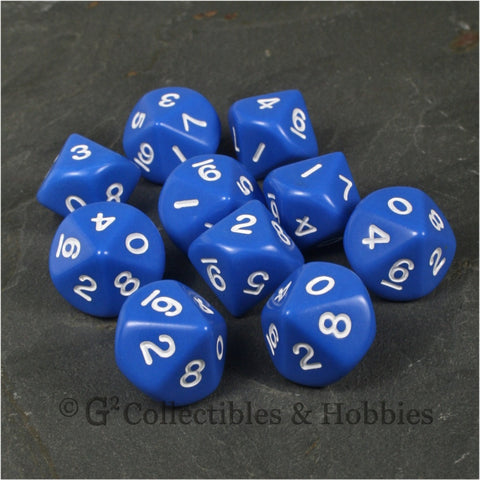 D10 Opaque Blue with White Numbers 10pc Dice Set