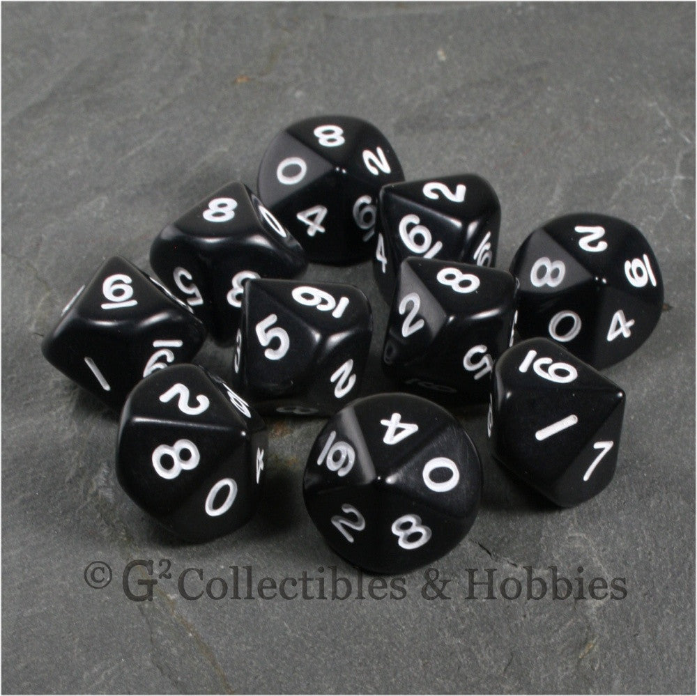 D10 Opaque Black with White Numbers 10pc Dice Set
