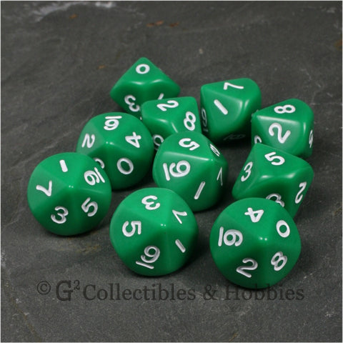 D10 Opaque Green with White Numbers 10pc Dice Set