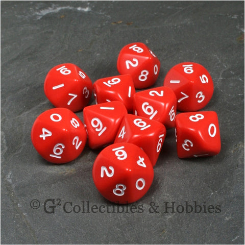 D10 Opaque Red with White Numbers 10pc Dice Set