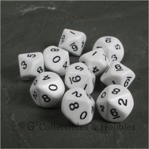 D10 Opaque White with Black Numbers 10pc Dice Set