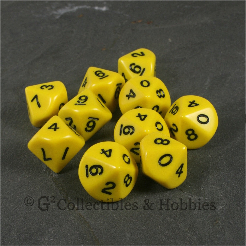 D10 Opaque Yellow with Black Numbers 10pc Dice Set