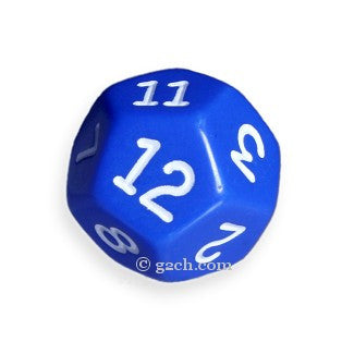 D12 Opaque Blue with White Numbers