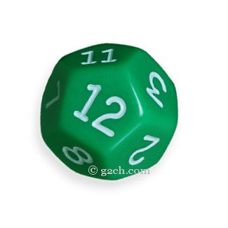 D12 Opaque Green with White Numbers
