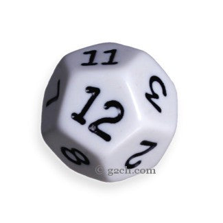 D12 Opaque White with Black Numbers