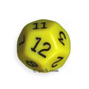 D12 Opaque Yellow with Black Numbers
