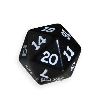 D20 Opaque Black with White Numbers