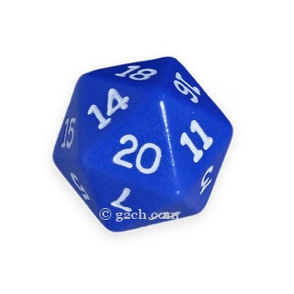 D20 Opaque Blue with White Numbers