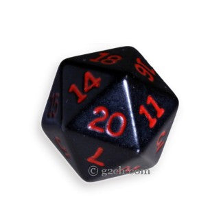 D20 Opaque Black with Red Numbers