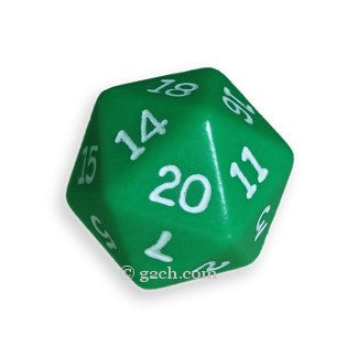 D20 Opaque Green with White Numbers