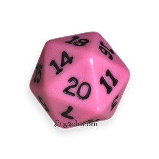 D20 Opaque Pink with Black Numbers