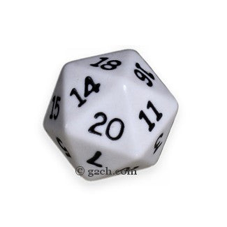 D20 Opaque White with Black Numbers