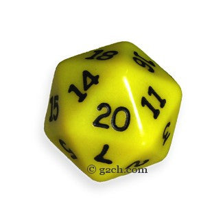 D20 Opaque Yellow with Black Numbers