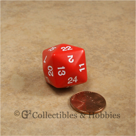 D24 Opaque Red with White Numbers
