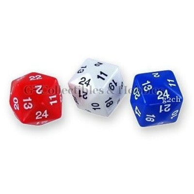 D24 Opaque 3pc Dice Set - Red, White, & Blue