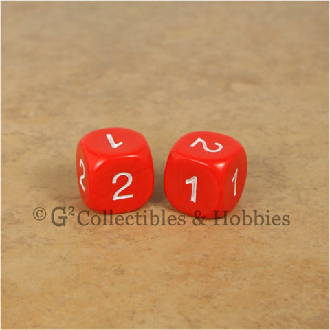 D2 (6 Sided) RPG Dice Set Pair  - Red