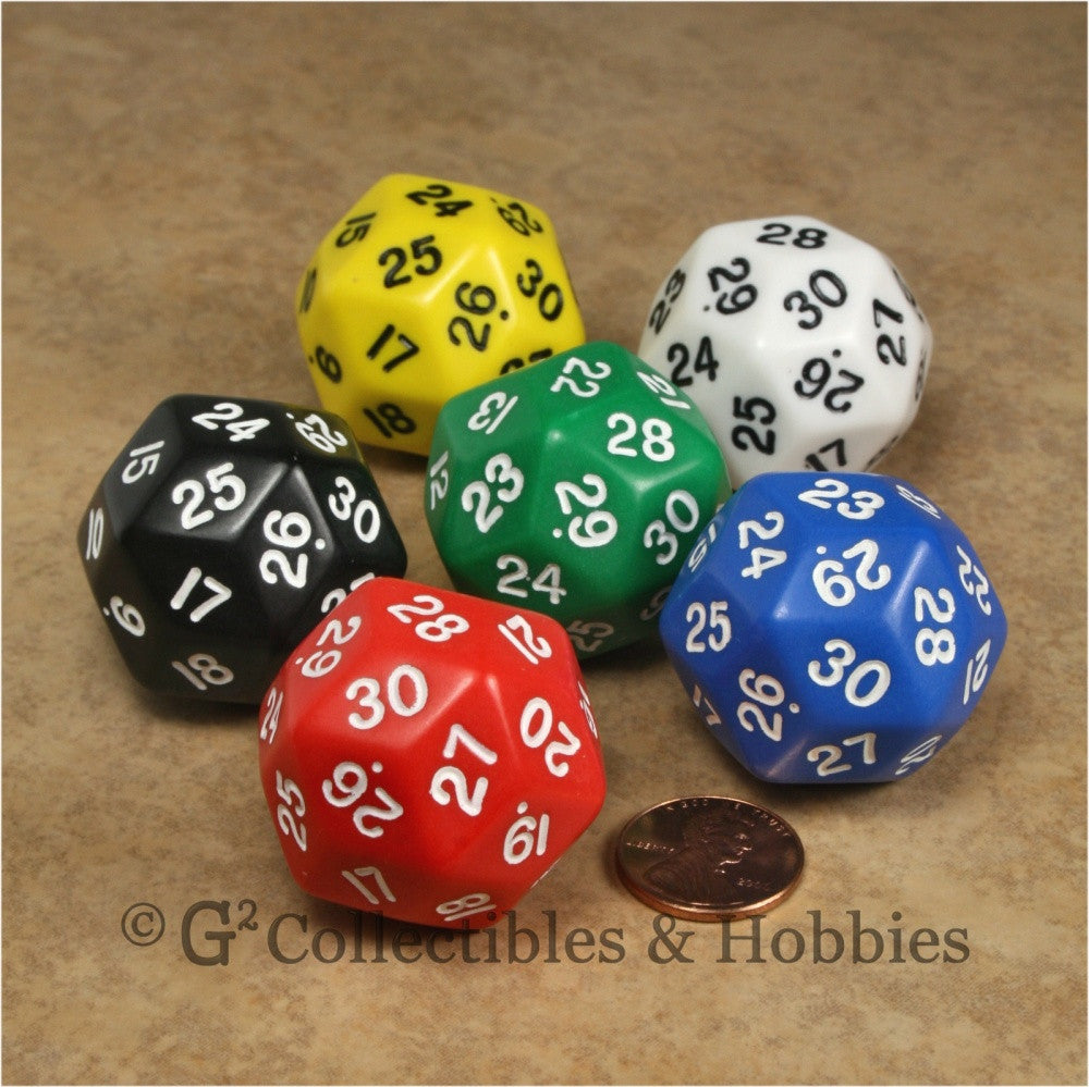 D30 Opaque 6pc Dice Set - 6 Colors