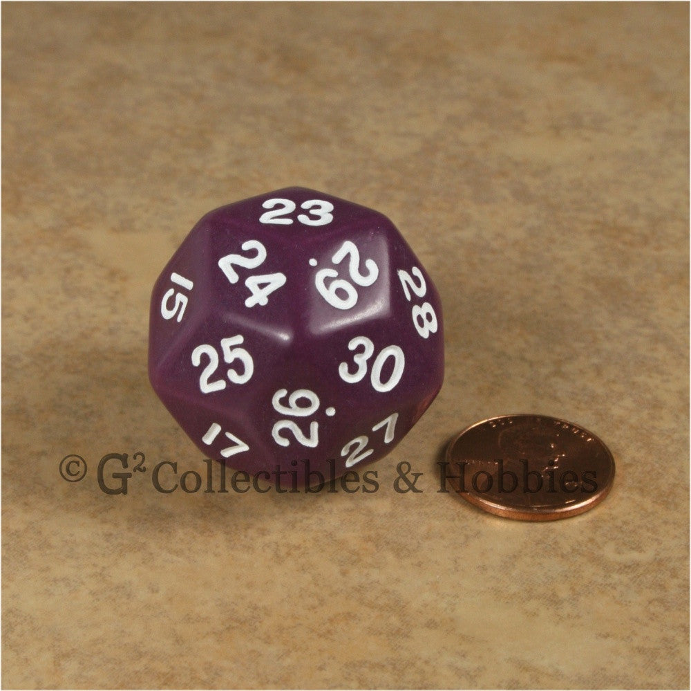 D30 Opaque Purple with White Numbers