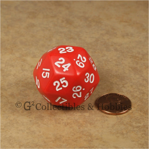 D30 Opaque Red with White Numbers