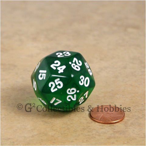 D30 Transparent Green with White Numbers