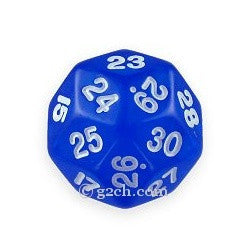 D30 Transparent Blue with White Numbers