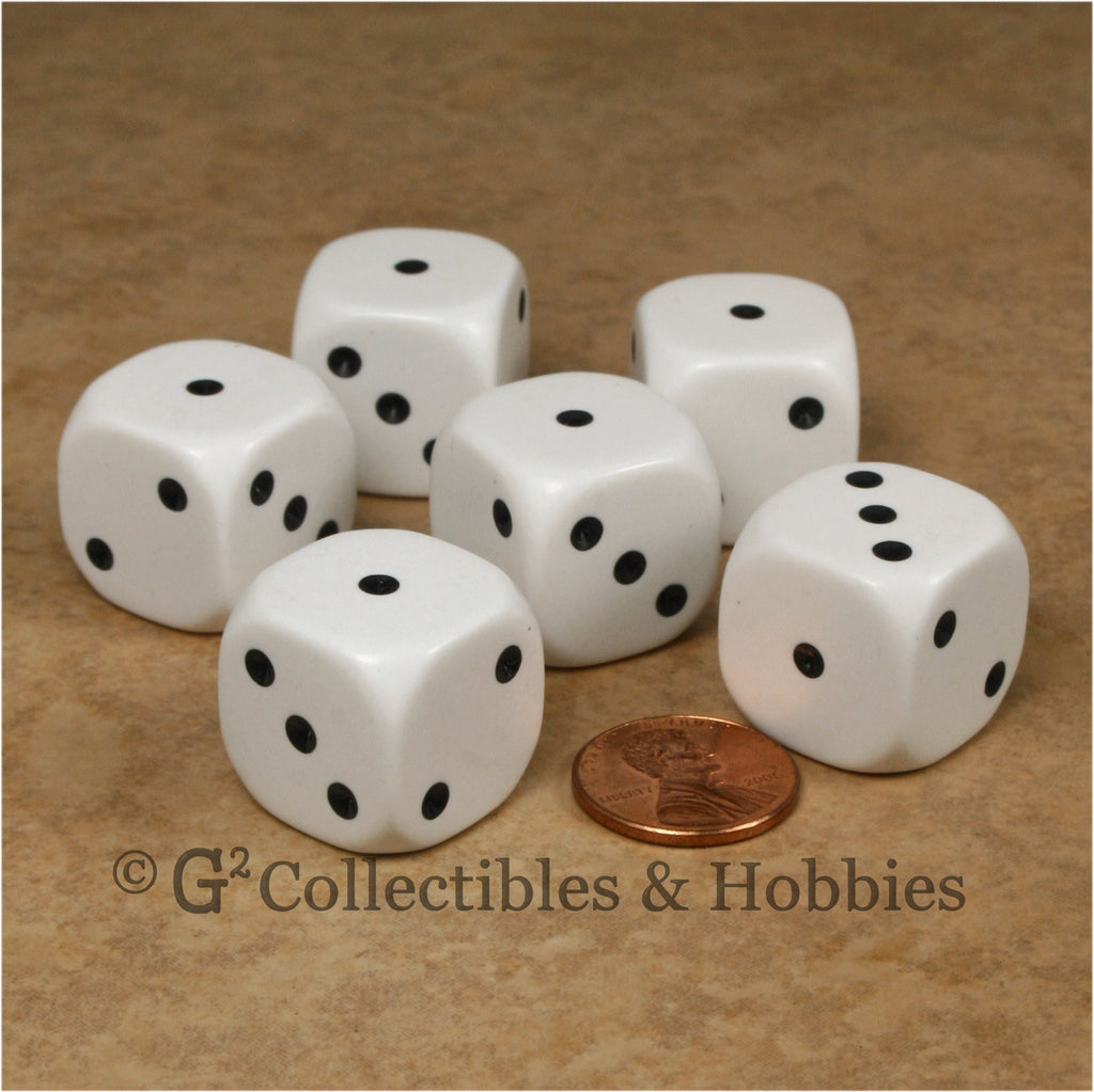 D3 (6 Sided) Large 20mm Spotted Dice 6pc Set - 1 to 3 Twice