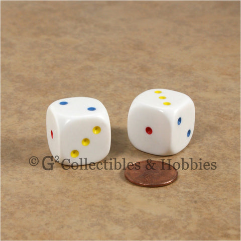 D3 (6 Sided) Large 20mm Spotted Dice Pair - 1 to 3 Twice Multi-Color Pips