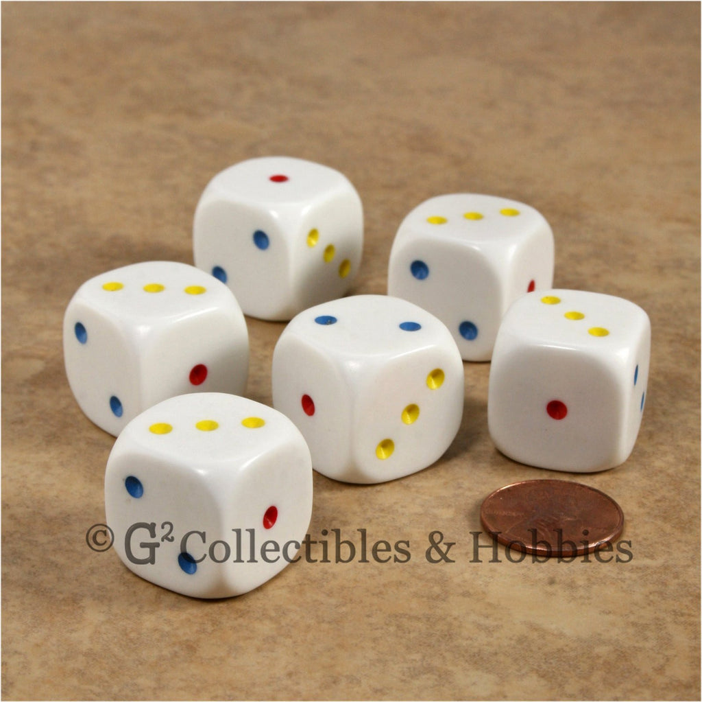 D3 (6 Sided) Large 20mm Spotted Dice 6pc Set - 1 to 3 Twice  Multi-Color Pips