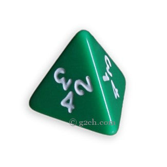D4 Opaque Green with White Numbers