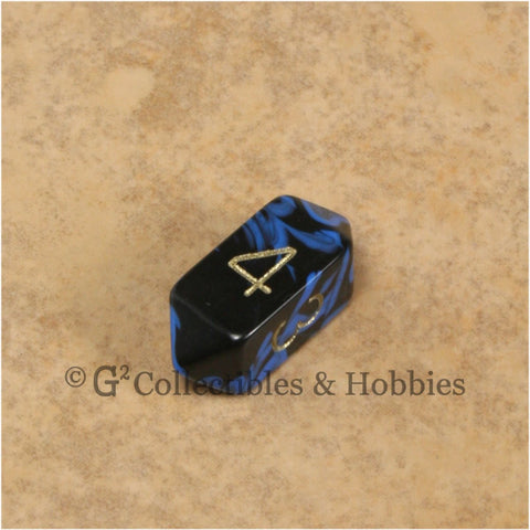 D4 Crystal Oblivion Blue Die with Gold Numbers