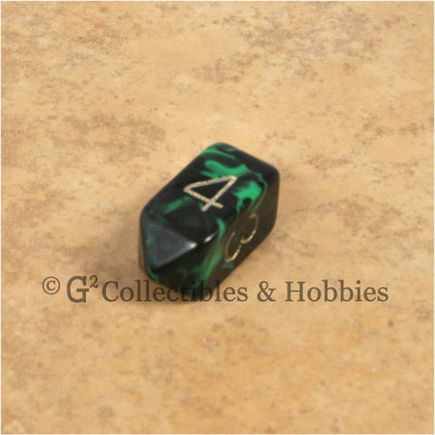 D4 Crystal Oblivion Green Die with Gold Numbers