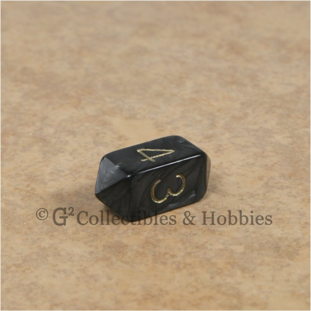 D4 Crystal Pearl Black Die with Gold Numbers