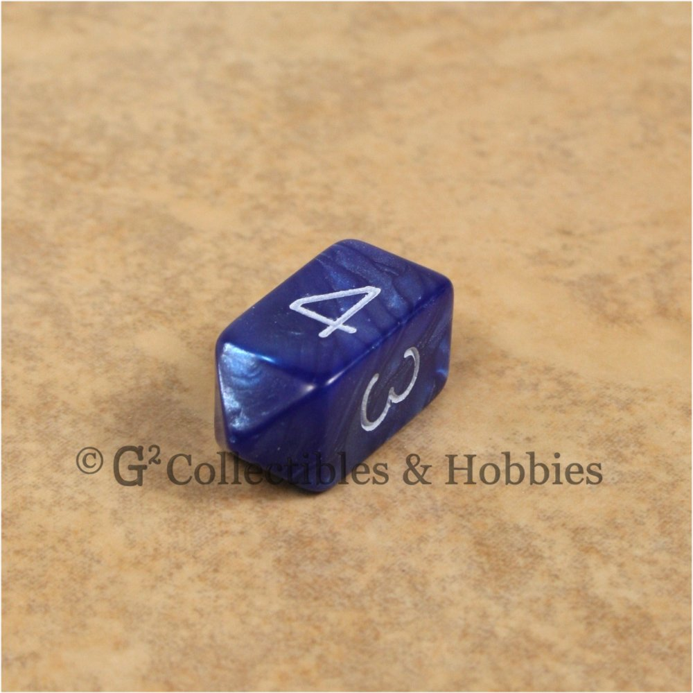 D4 Crystal Pearl Blue Die with White Numbers