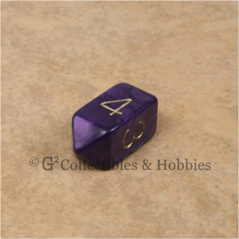 D4 Crystal Pearl Purple Die with Gold Numbers