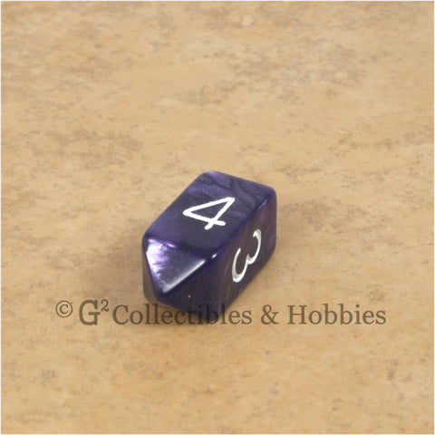 D4 Crystal Pearl Purple Die with White Numbers