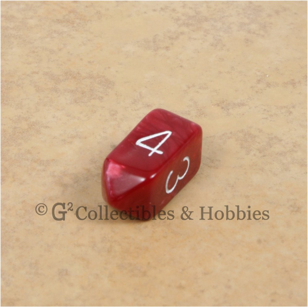 D4 Crystal Pearl Red Die with White Numbers